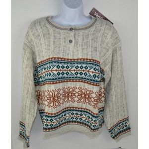 Vtg 1980s Nordic Print Crop Sweater